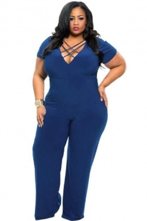 reputation first authentic quality uk store Blue String V-neck Plus Size Jumpsuit XL-3X #Unbranded ...