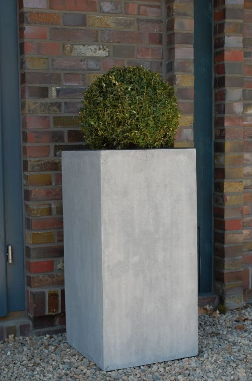 Extremely Pflanzkübel Säule rechteckig Beton Fiberglas in Grau. Schmücken  BO03