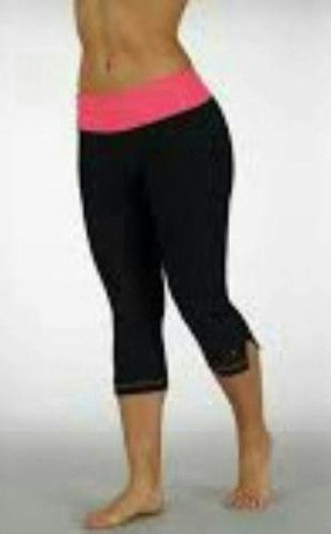 Bally Fitness Ruched Capri Leggings in Pink/Black Size MEDIUM $52.00 Value