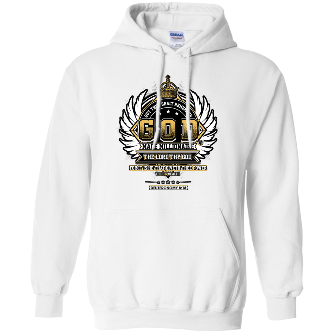 Mens Hoodie | God Made Millionaire ® | 8 oz Gildan Pullover Hoodie Crown Series (Multiple Colors) Black Outline Gold Logo
