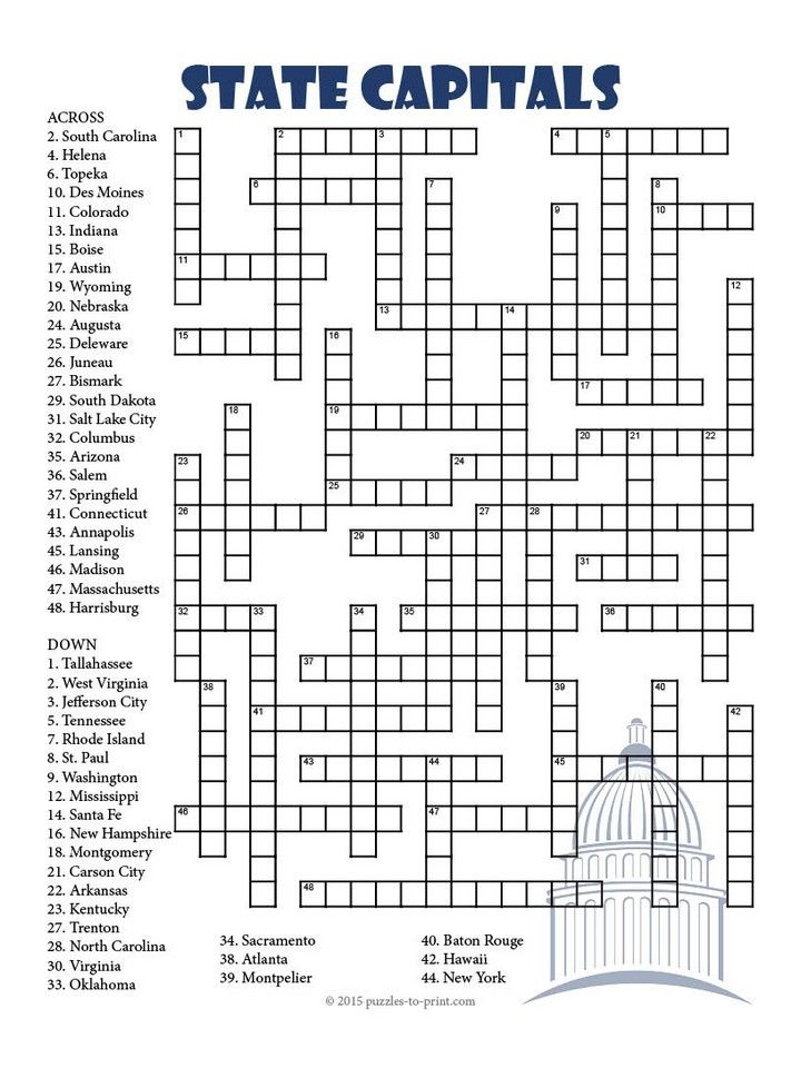 A Challenging Crossword Puzzle To Help Students Learn The Names Of US State Capital Cities Fifty Clues In All Solution Included