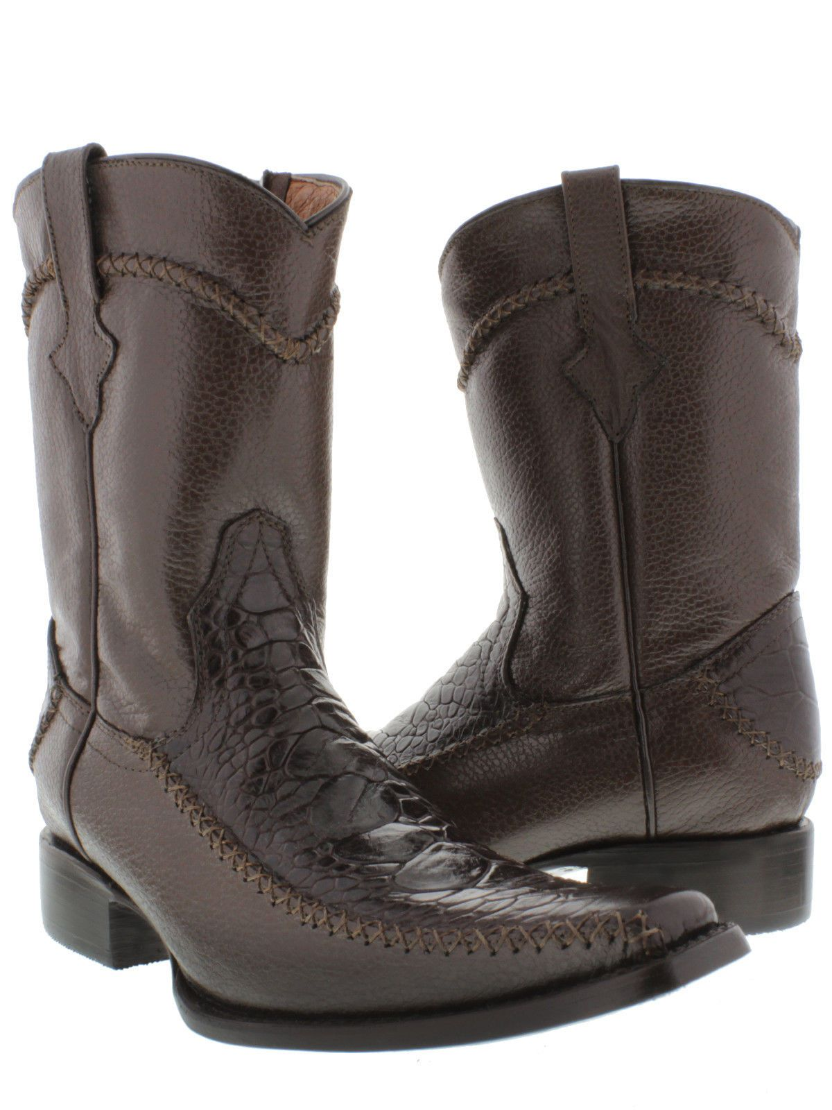 90db506f694 MEN'S BROWN ROCKERZ SEA TURTLE EXOTIC LEATHER WESTERN COWBOY BOOTS ...
