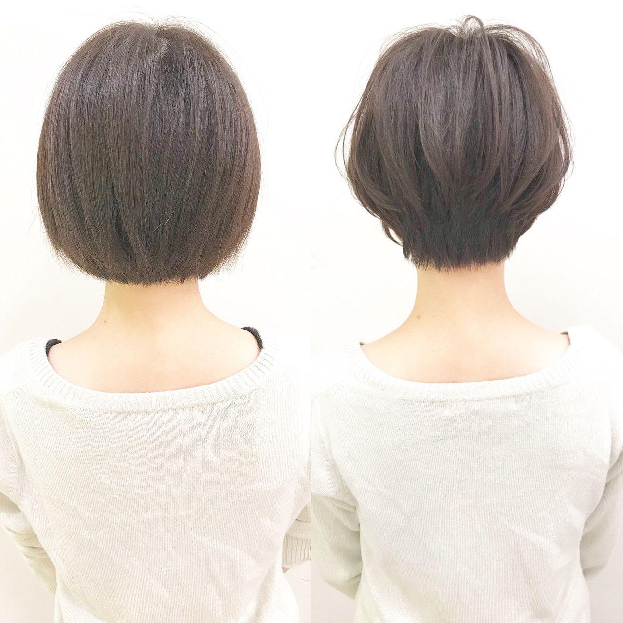 首を細く綺麗に見せる 前下がりショートヘア Before 左 After 右 重たく硬く見えるワンレンボブスタイルを スッキリ女性らしい柔らかいショートヘアにしました 髪質 骨格 直毛多毛で全体的に重 短い髪のためのヘアスタイル