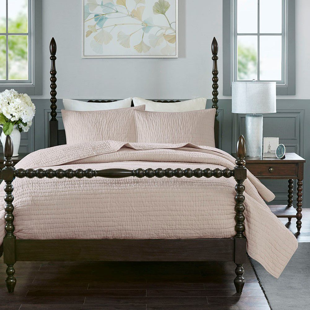 Serene Cotton Hand Quilted Coverlet Set, Blush, King/Cal King - Spruce Up: Search - comforters, pink, updated traditional