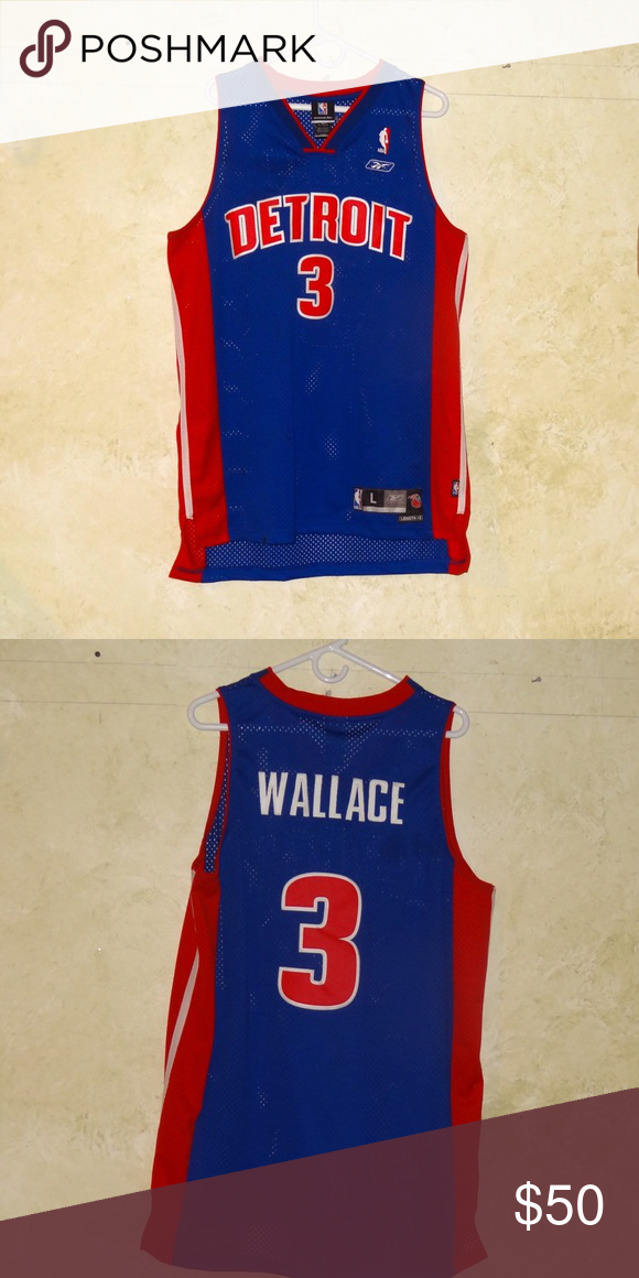 Vtg NBA Ben Wallace Detroit Pistons Jersey Reebok Vintage Detroit Pistons  Ben Wallace Mens Jersey Size Large Reebok Reebok Shirts Tank Tops 2a0f7beb3