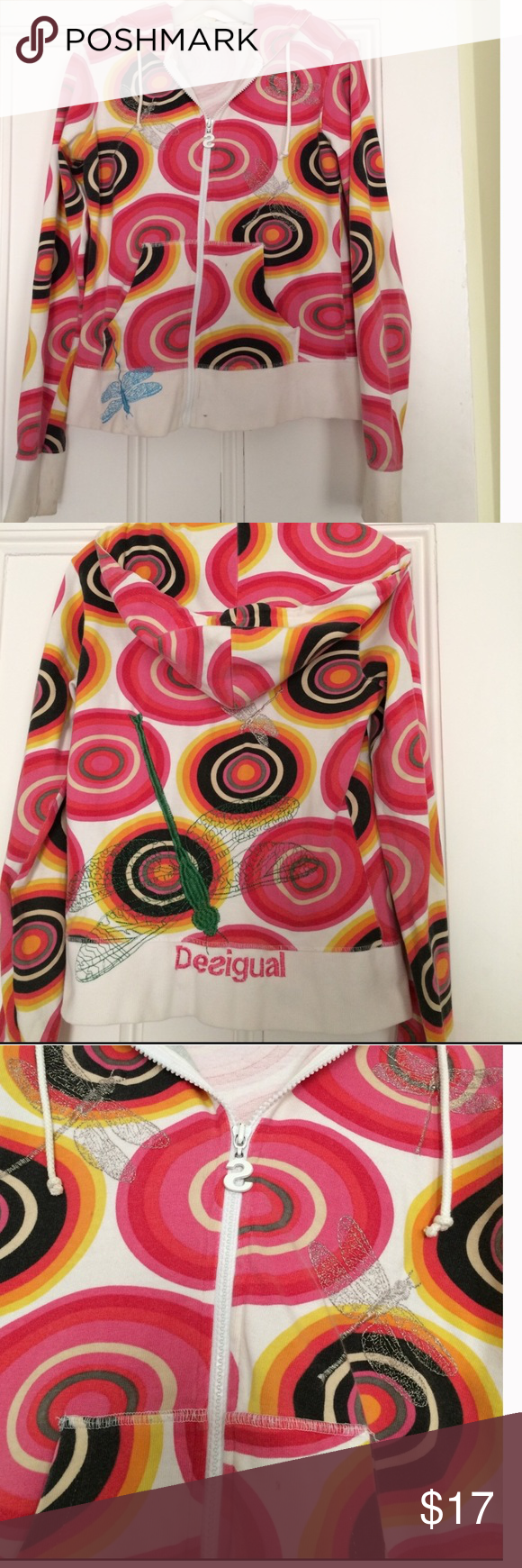 """DESIGUAL COLORFUL SWEATSHIRT, SIZE MEDIUM One of a kind sweatshirt as bought in Barcelona.  Very well worn, but has a few stains in photo 4 on the cuff. Needs to be cleaned to bring life back to it.  No holes, tears or odors, colors still vibrant.  Length is 23"""" long. Size is medium but its slim fitting. Desigual Tops Sweatshirts & Hoodies"""