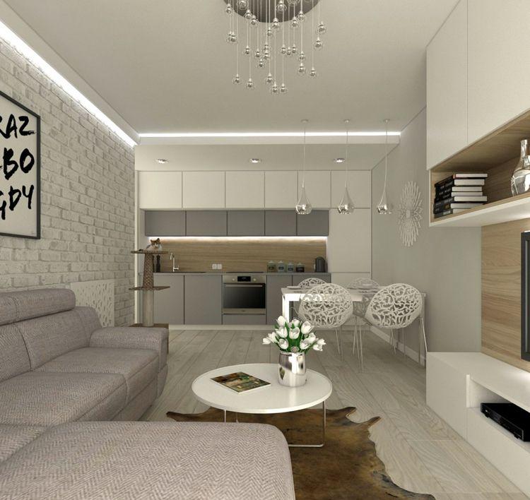20 Qm Wohnzimmer Einrichten Lang Schmal Ecksofa Einzeilige Küche Esstisch 4  Personen