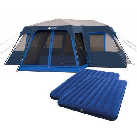 Ozark Trail 12-Person Instant Cabin Tent with 2 Queen Airbeds Value Bundle - Walmart  sc 1 st  Pinterest : walmart tent bundle - memphite.com