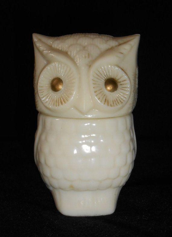 VINTAGE AVON OWL glass fragrance lotion perfume oil Avon collectible glass owl milk glass