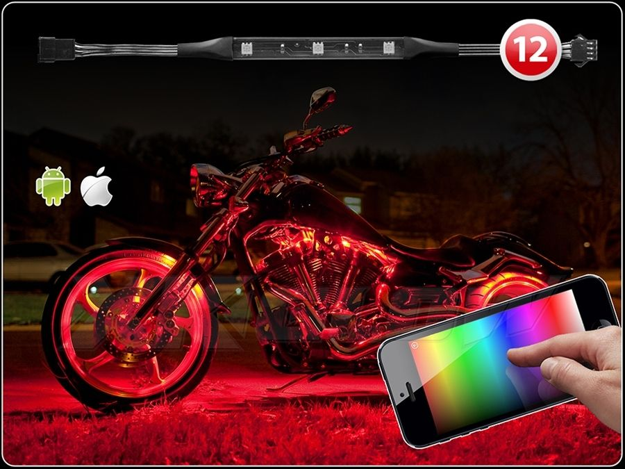 12 strip ios android app wifi control led motorcycle led neon underglow accent light kit - Underglow neon ...