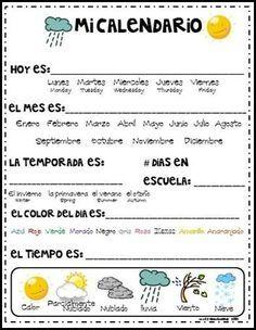 Mi Calendario Spanish Lessons For Kids Spanish Activities Spanish Basics