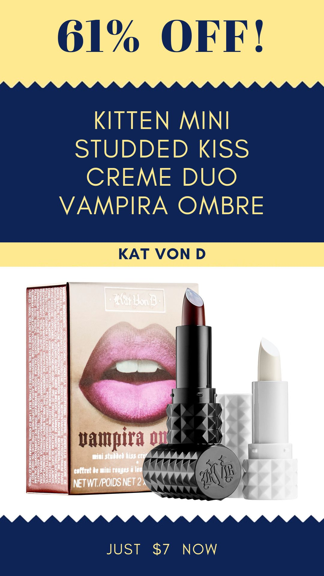 Kitten Mini Studded Kiss Creme Duo Vampira Ombre 61 Off Deal Mini Studs Sephora Creme