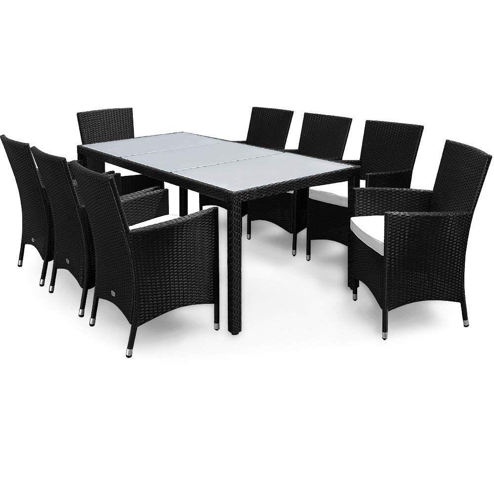 Poly Rattan Sitzgruppe 8 1 Schwarz 8 Stapelbare Stuhle 7cm
