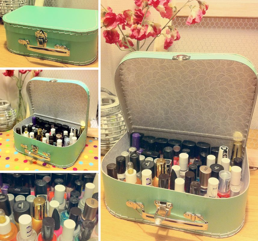 Well I sorta already have a metal box for my nail polish but using old lunch boxes would be good