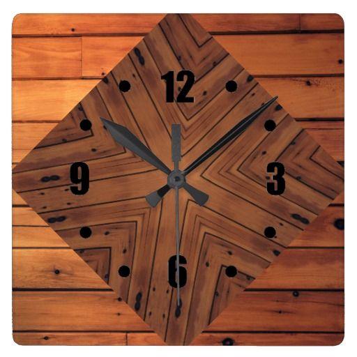 Wood Kaleidoscope Design Square Wall Clock | Zazzle.com ...
