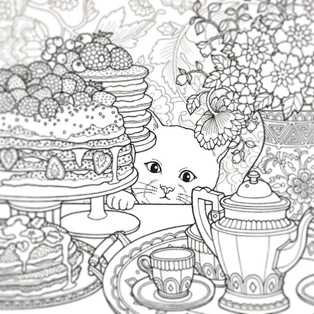 Daria Song : #cat #teatime #TheNightVoyage Coloring Book | coloring ...