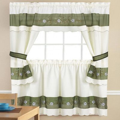 Sweet Home Collection 5 Piece Kitchen Curtain Set Size 24 H X 58