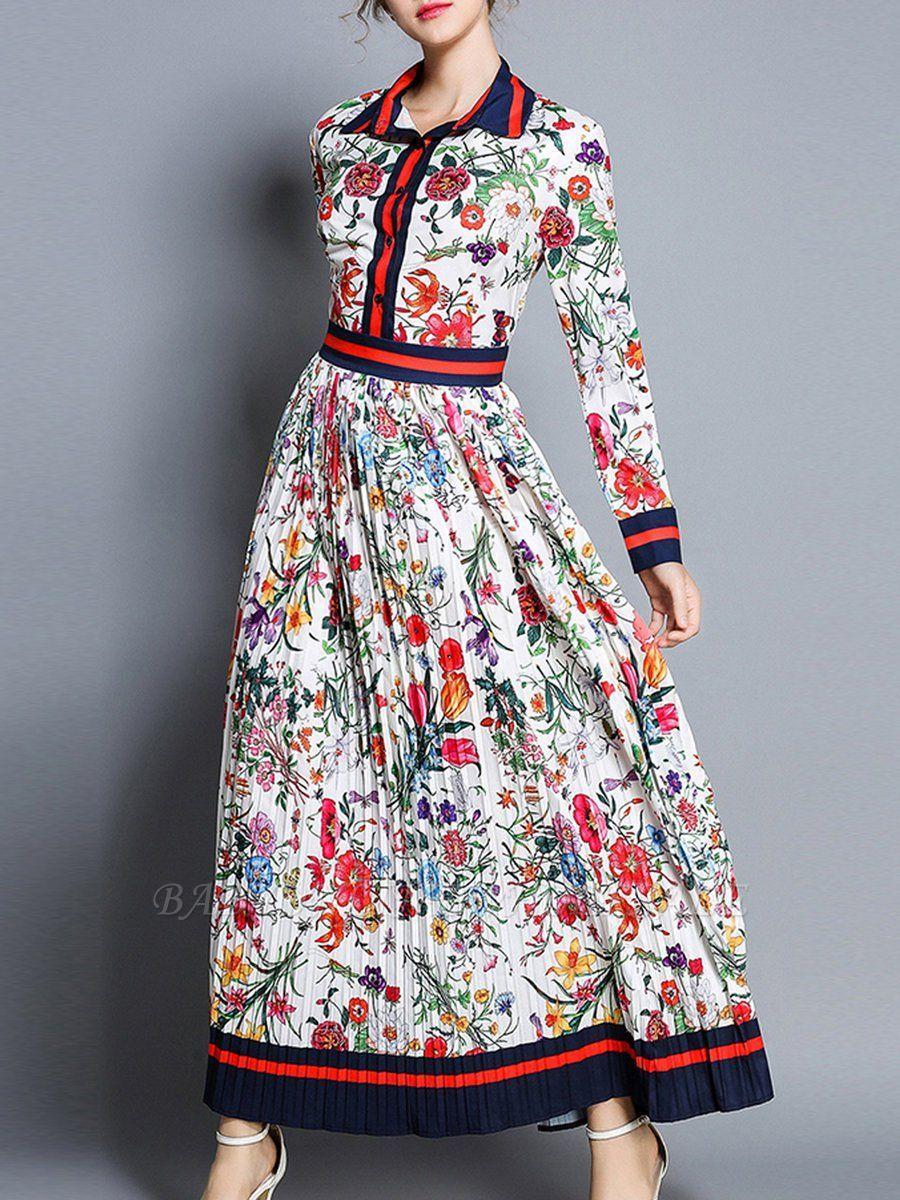 0ee8e57d245 Shirt Collar Maxi Dress Swing Date Dress Long Sleeve Boho Color-block Floral  Dress