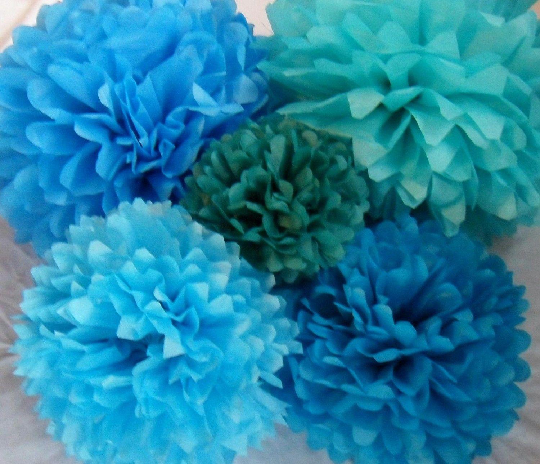 Birthday Party Tissue Paper Pom Pom Decorations by createandadorn