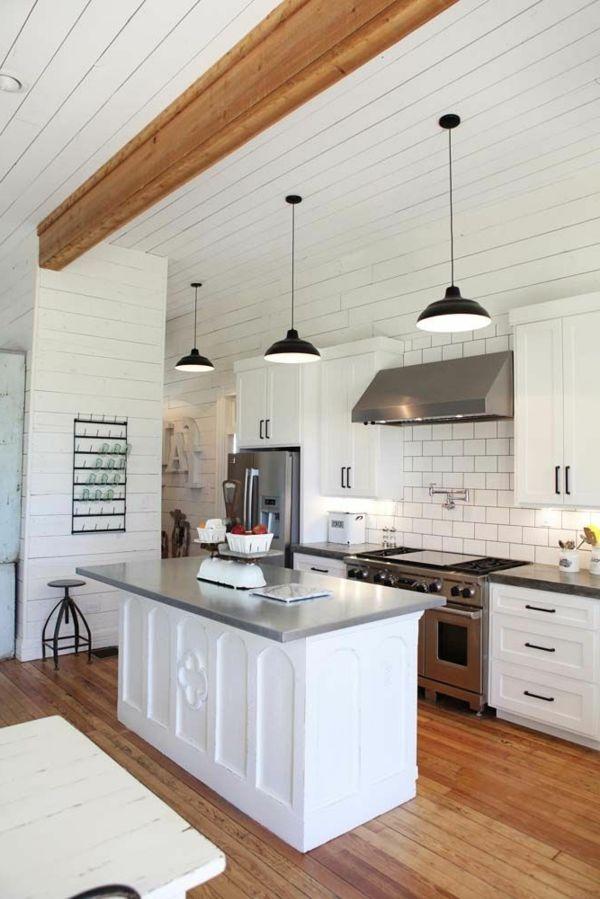 küche interieur weiß fliesen kücheninsel Möbel selfmade - wandverkleidung für küchen