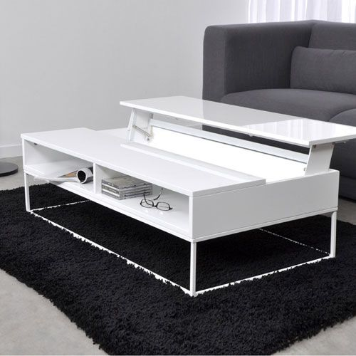 Table Basse Design Laque 1 Plateau Relevable Laura Blanc Furniture Coffee Table Home Decor
