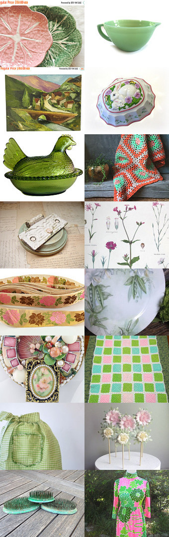 Pretty in Pink and Green for Spring by Lisa Cook on Etsy--Pinned+with+TreasuryPin.com