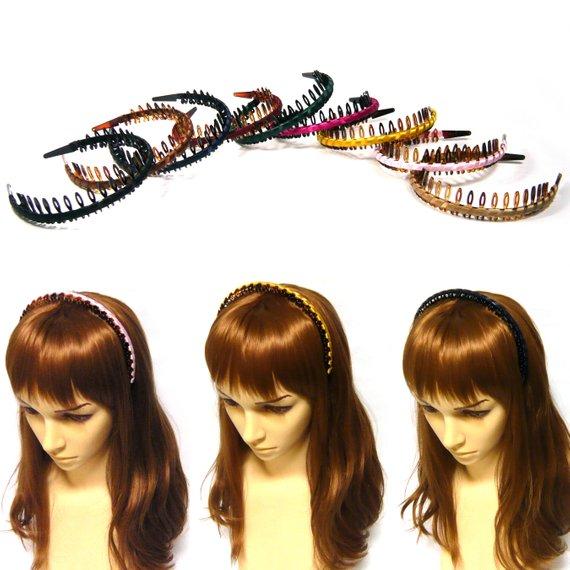 Colorful Ribbon Wrapped Acrylic Plastic Teeth Tooth Hair Comb Grip Loop  Headband Hairband Headpiece 5bbf3f9394f