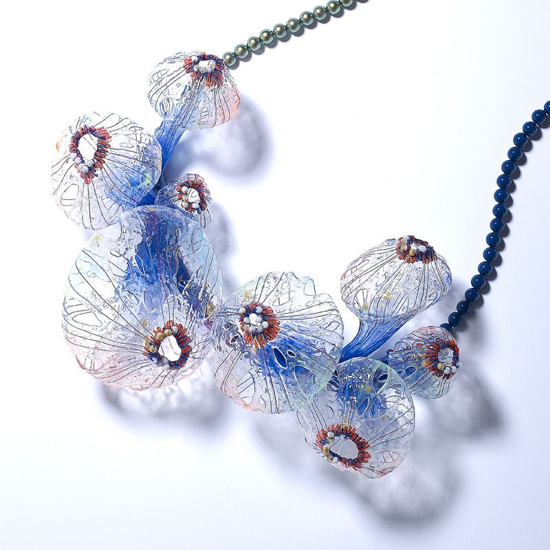 Secrets of the Yesterday / Necklace silicone, pigment, thread, plastic, fabric