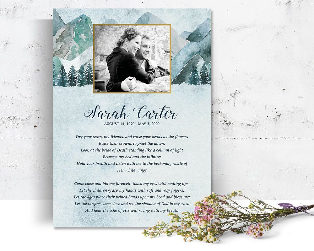 Funeral Poem Card Tribute Card Mountain Funeral Template Photo Etsy Celebration Of Life Funeral Templates Funeral Poems