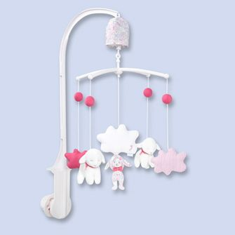 mobile musical mixte blanc rose jacadi paris work. Black Bedroom Furniture Sets. Home Design Ideas