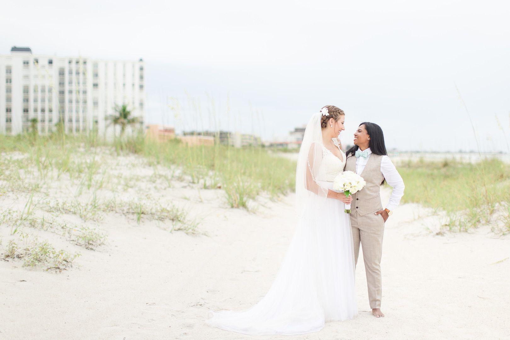 Tropical Blue And Green Beach Wedding In St Petersburg Florida Wedding Gowns Vintage Lesbian Wedding Lgbtq Wedding