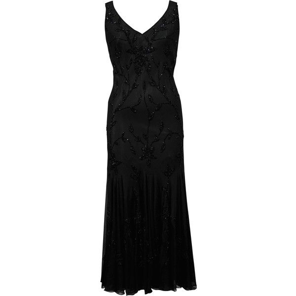 Chesca All Over Beaded Dress Black $355 ❤ liked on Polyvore