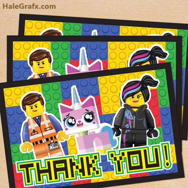 Free Printable Lego Movie Thank You Card With Images Lego