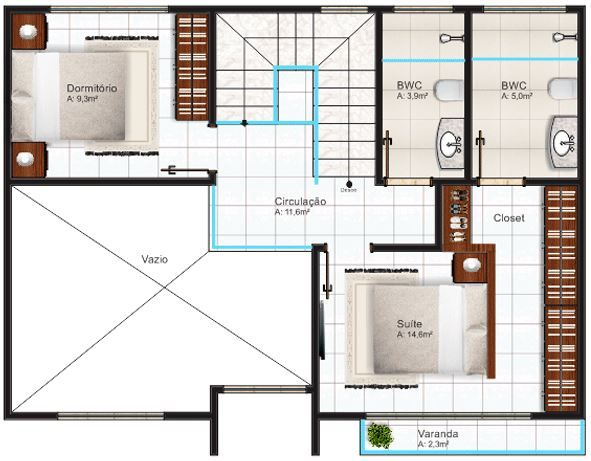 Plano de casa moderna de 125 metros cuadrados con cochera for Casa moderna 50 metros cuadrados