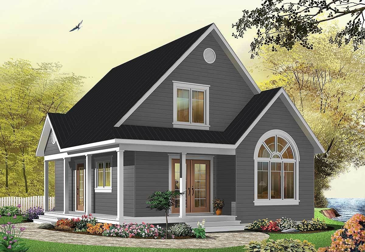Plan 21492dr Country Cottage With Wrap Around Porch In 2020 Country Cottage House Plans Drummond House Plans Cottage House Plans