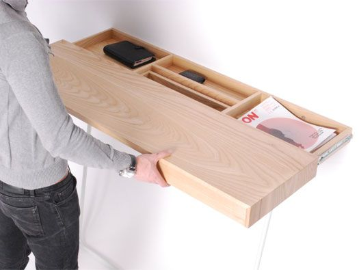 Use Drawer Slides; Mount The Drawer On The Wall; Attach The Shell To The  Slides, So It Pulls Out. Shifty Desk / Hallway Stand By Daniel Schofield  This Is ...