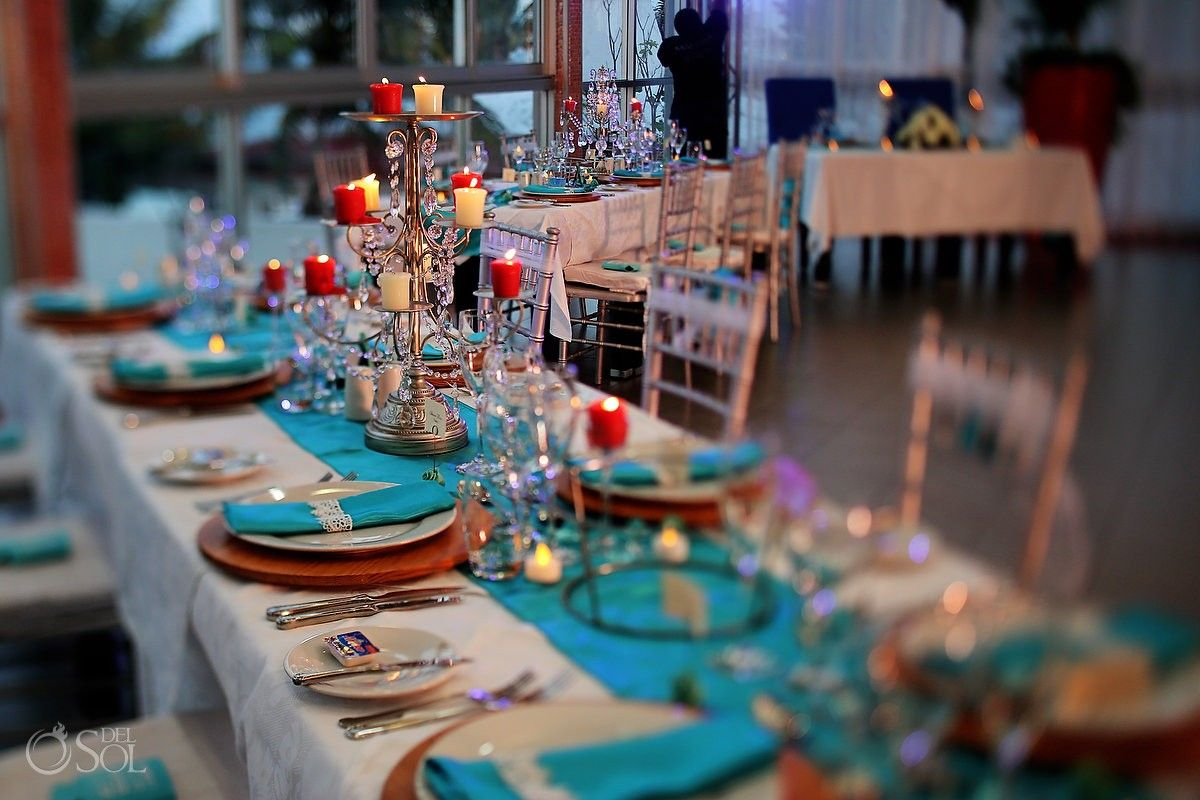 Wedding Reception Cancun Riu Palace Peninsula With A Tiffany Theme Simple Candles And Chandeliers On The Table Top Photo By Matt Ad