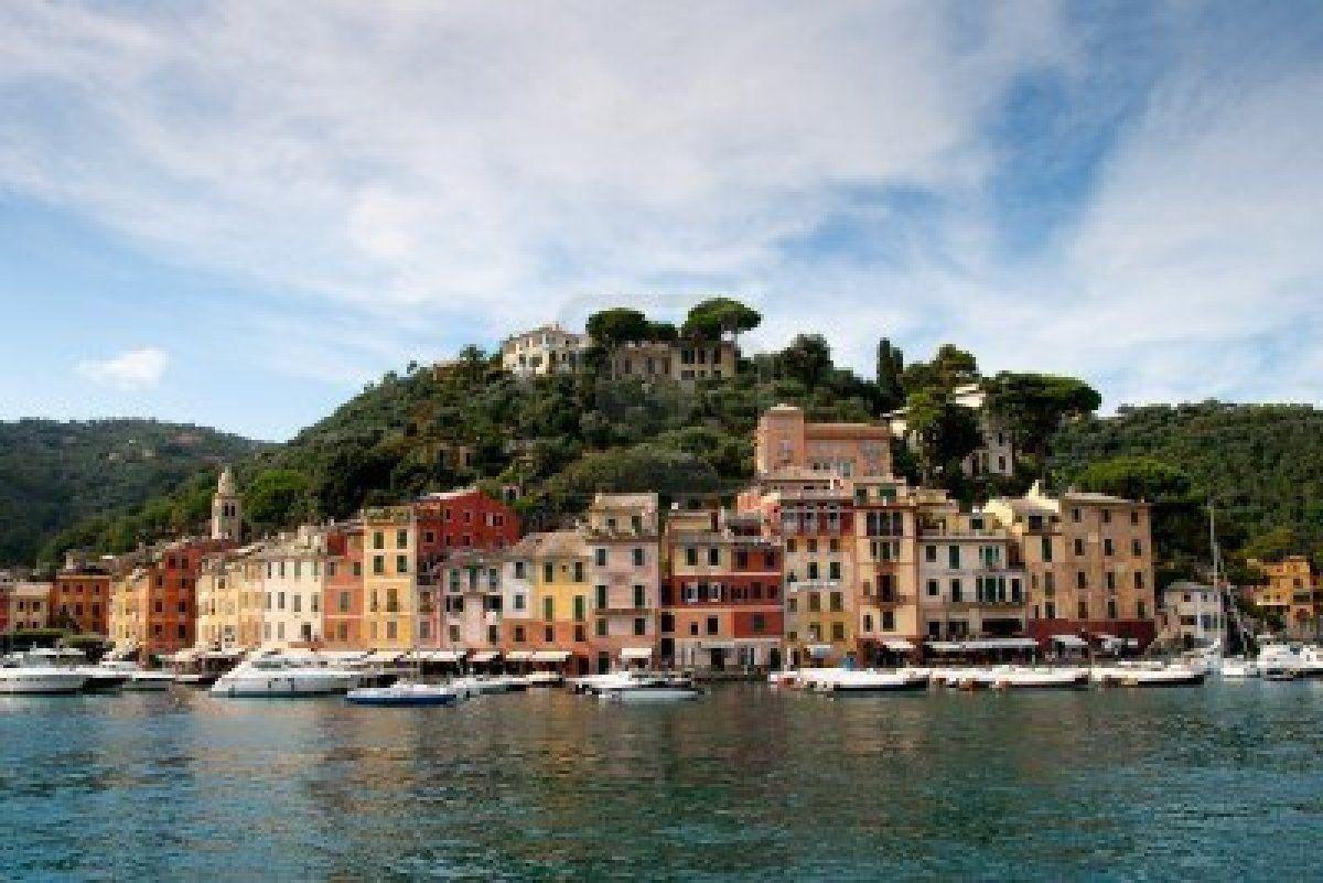 Portofino yacht port and luxury villas at the hill, Italy