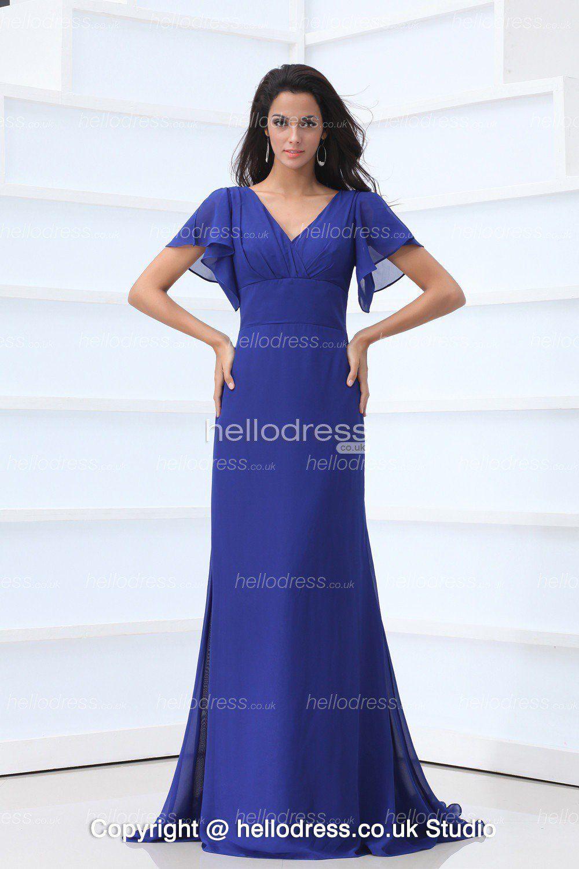 Short sleeves royal blue chiffon empire waist long bridesmaid dress