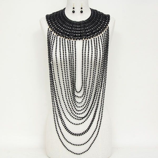 """22"""" pearl body chain celebrity basketball wives bib collar necklace bridal"""