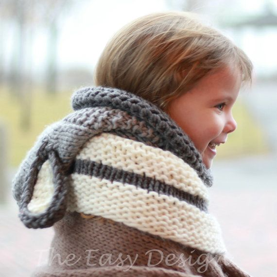 Knitting pattern, Patron tricot – David Dog Hooded Cowl Hood Neck ...