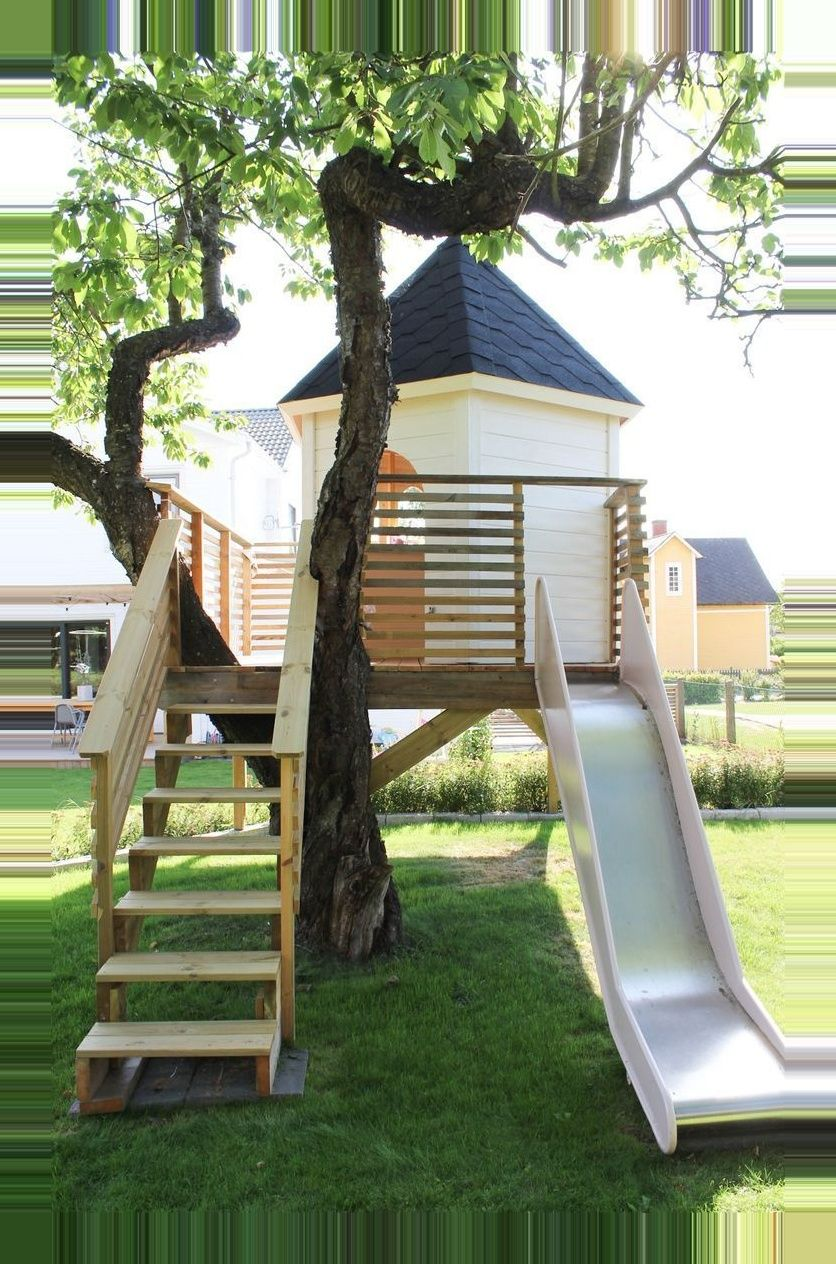 This is awesome; a swing set and a tree house! This is