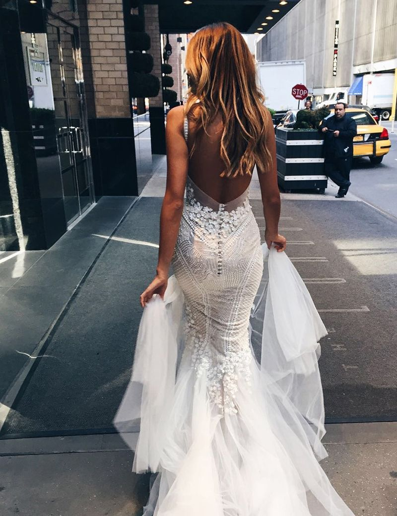Luxurious mermaid long vneck wedding dress with open back from