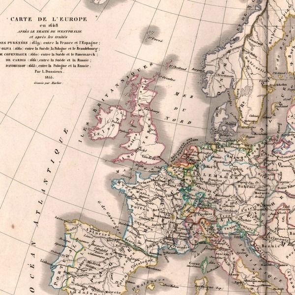 Carte ancienne 1870     Carte de l Europe en 1648 après traité de
