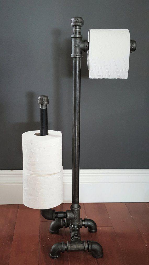 Industrial Steampunk Black-Pipe Tall Floor-Model Toilet Paper Holder #vintageindustrialfurniture