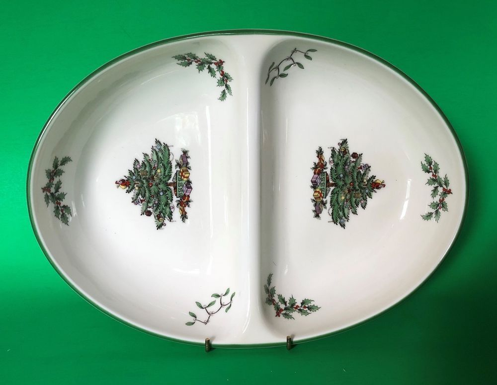 Spode Christmas Tree S3324 Divided Oval Bowl 11 Inch x 8-1/4 Inch