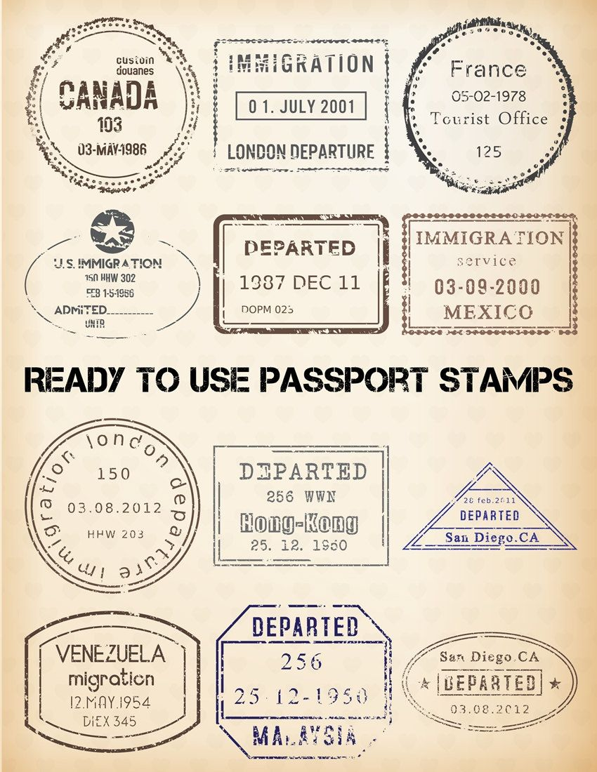 passport stamp clipart 24 digital clip art images editable templates vintage travel. Black Bedroom Furniture Sets. Home Design Ideas