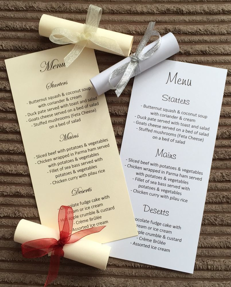 Wedding Menu Scrolls Card Table Reception Party Any Occasion