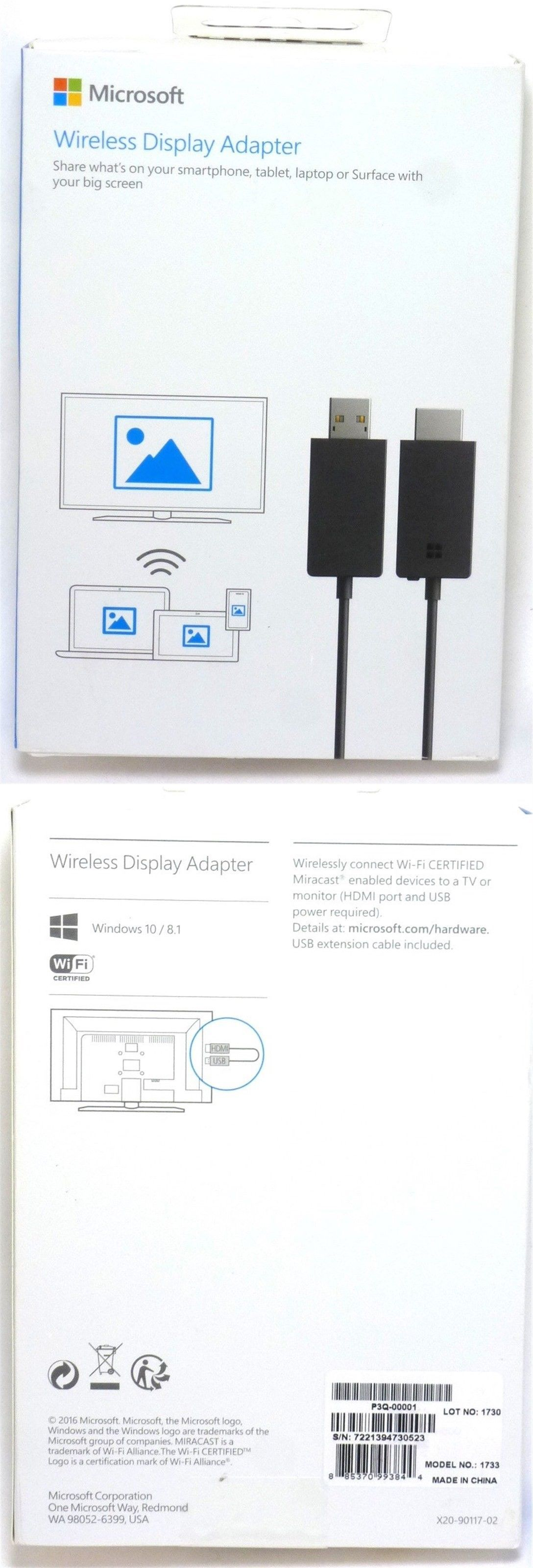 Wireless Display Adapter V2 receiver Dark-Titanium P3Q-00001 NEW Microsoft