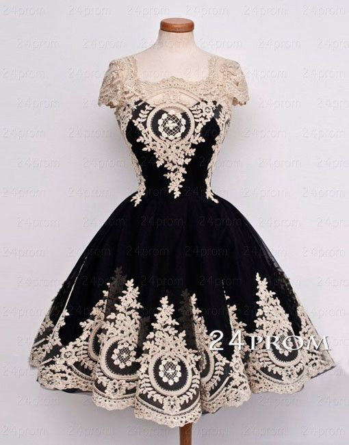 e049414957192 Black Tulle Lace Short Prom Dress,Homecoming Dress – 24prom ...